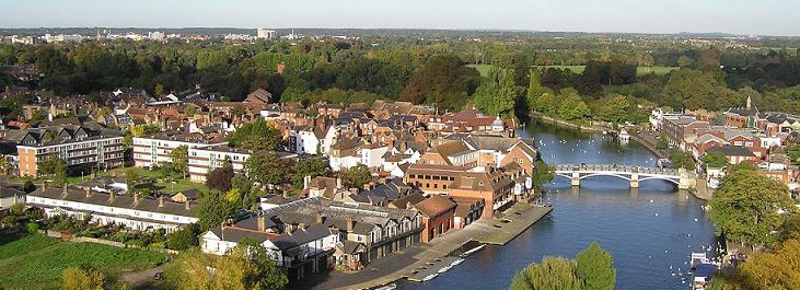 A view of Eton Town and Bridge from the air